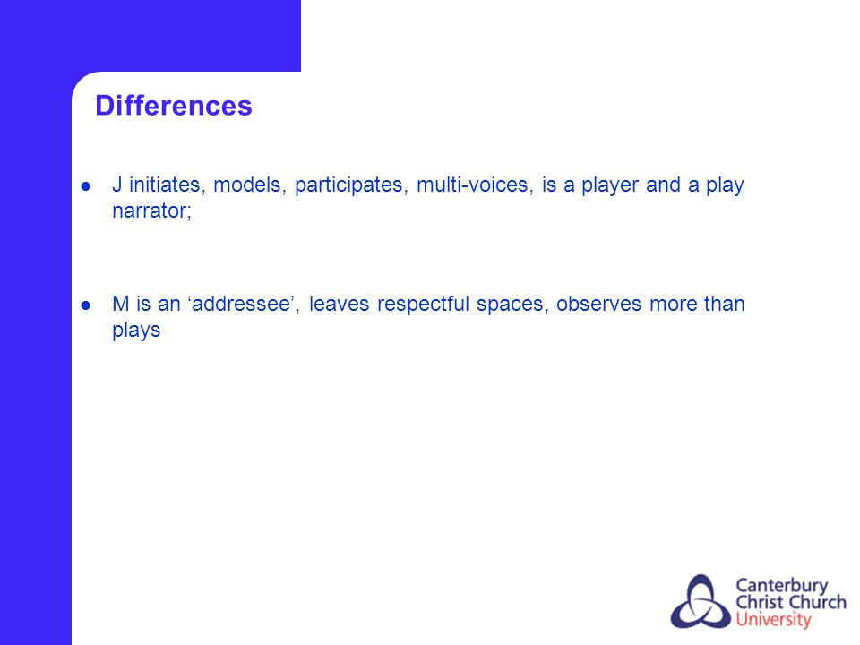 Differences J initiates, models, participates, multi-voices, is a player and a play narrator; M is an 'addressee', leaves respectful spaces, observes