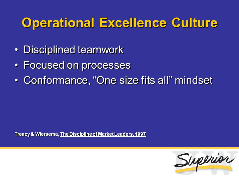 "Operational Excellence Culture Disciplined teamwork Focused on processes Conformance, ""One size fits all"" mindset Treacy & Wiersema, The Discipline of"