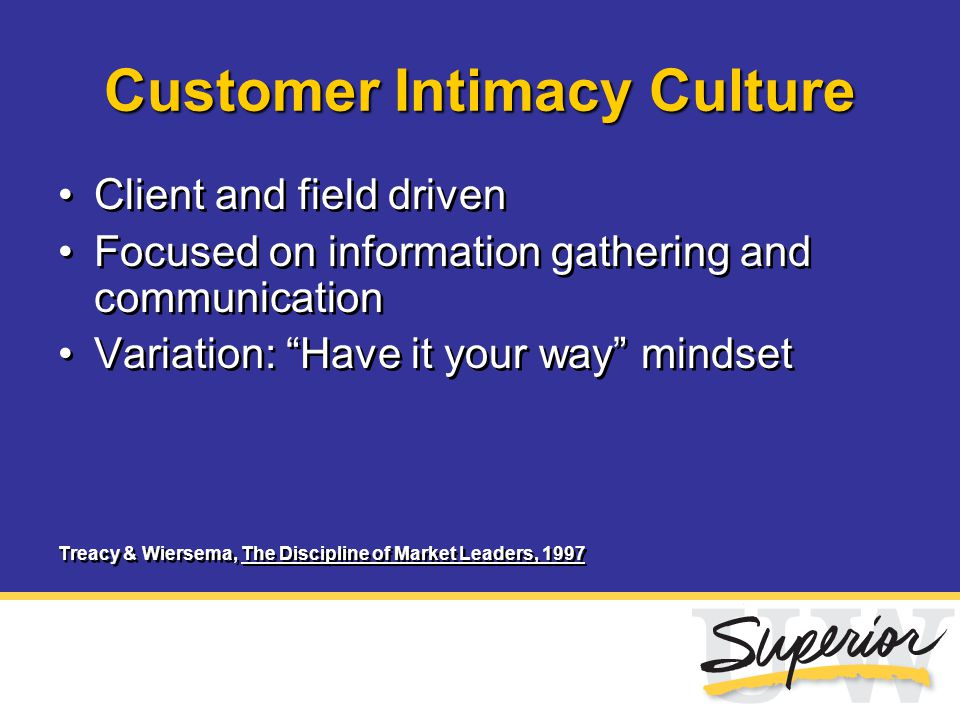 "Customer Intimacy Culture Client and field driven Focused on information gathering and communication Variation: ""Have it your way"" mindset Treacy & Wi"