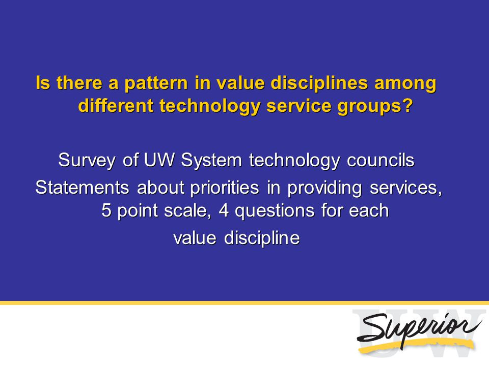 Is there a pattern in value disciplines among different technology service groups? Survey of UW System technology councils Statements about priorities