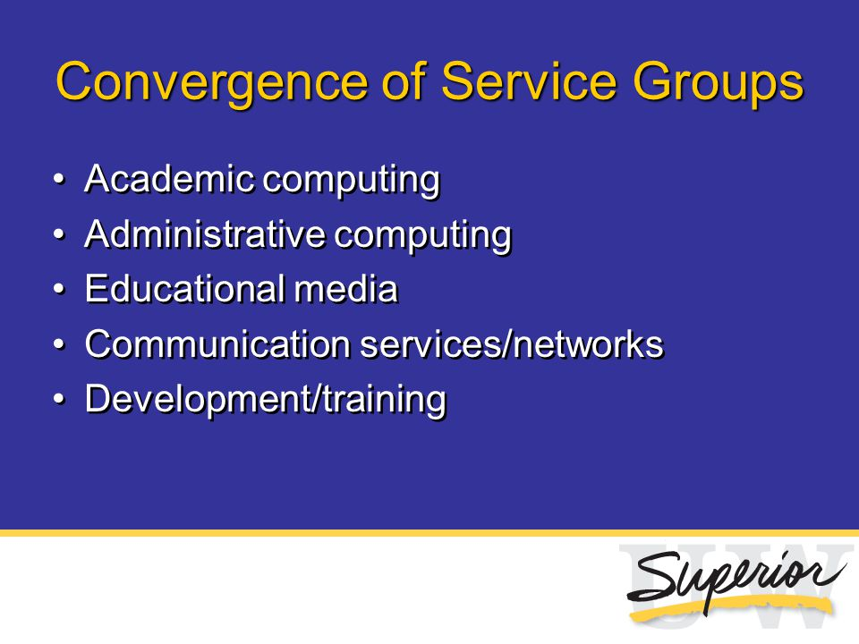 Convergence of Service Groups Academic computing Administrative computing Educational media Communication services/networks Development/training Acade