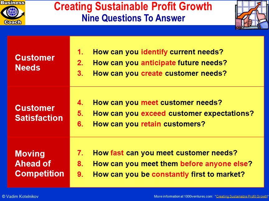 Creating Sustainable Profit Growth Nine Questions To Answer Customer Needs 1.How can you identify current needs.