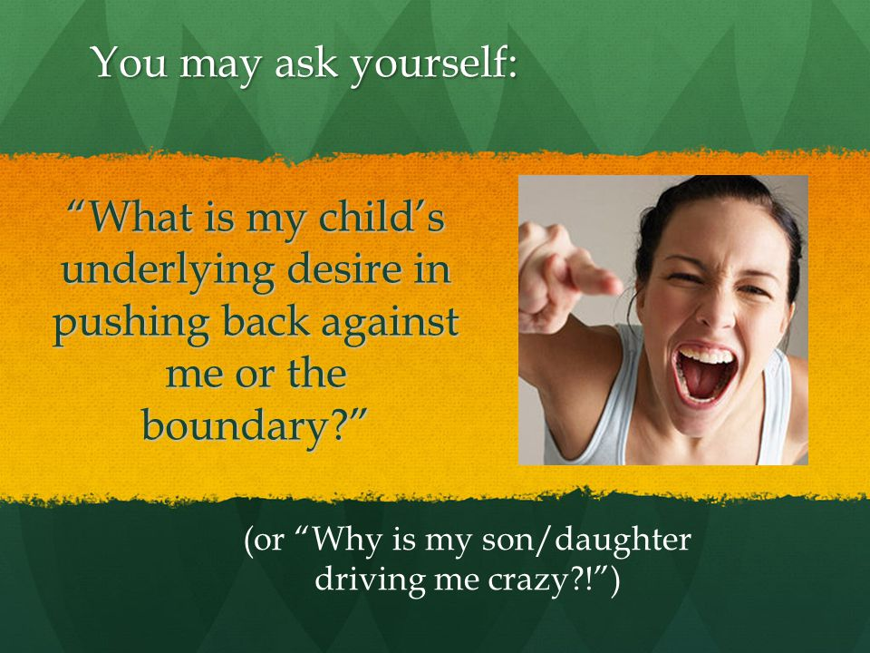What is my child's underlying desire in pushing back against me or the boundary (or Why is my son/daughter driving me crazy ! ) You may ask yourself: