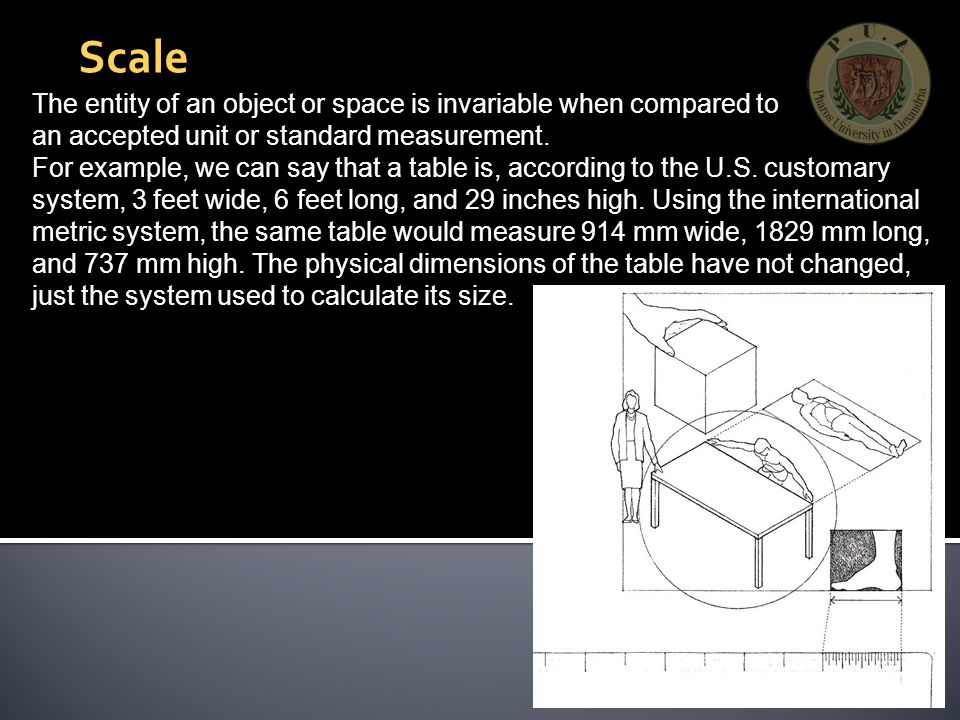 The entity of an object or space is invariable when compared to an accepted unit or standard measurement.
