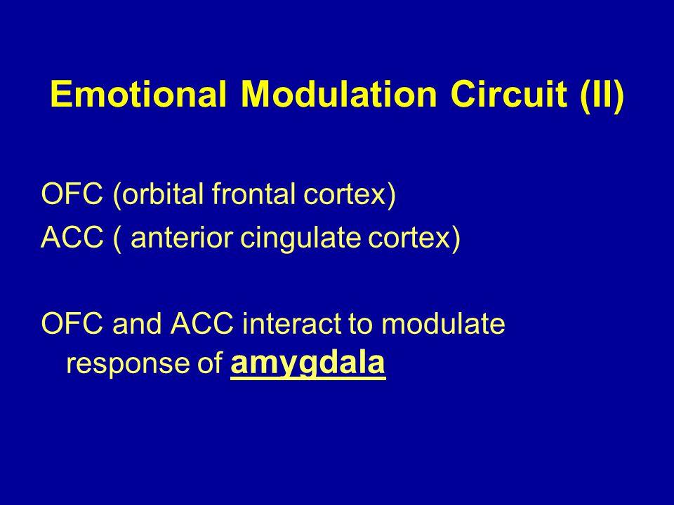 Emotional Modulation Circuit (II) OFC (orbital frontal cortex) ACC ( anterior cingulate cortex) OFC and ACC interact to modulate response of amygdala