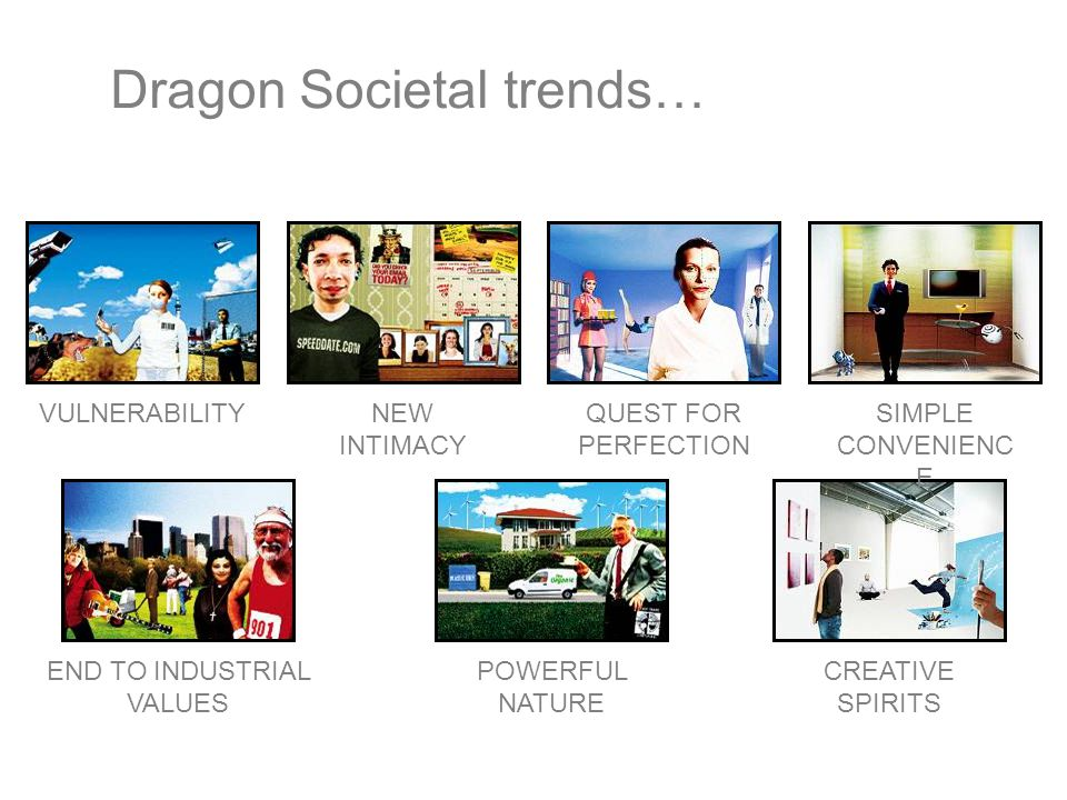 Dragon Societal trends… VULNERABILITYEND TO INDUSTRIAL VALUES QUEST FOR PERFECTION POWERFUL NATURE CREATIVE SPIRITS SIMPLE CONVENIENC E NEW INTIMACY