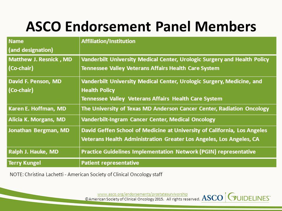 ASCO Endorsement Panel Members Name (and designation) Affiliation/Institution Matthew J.