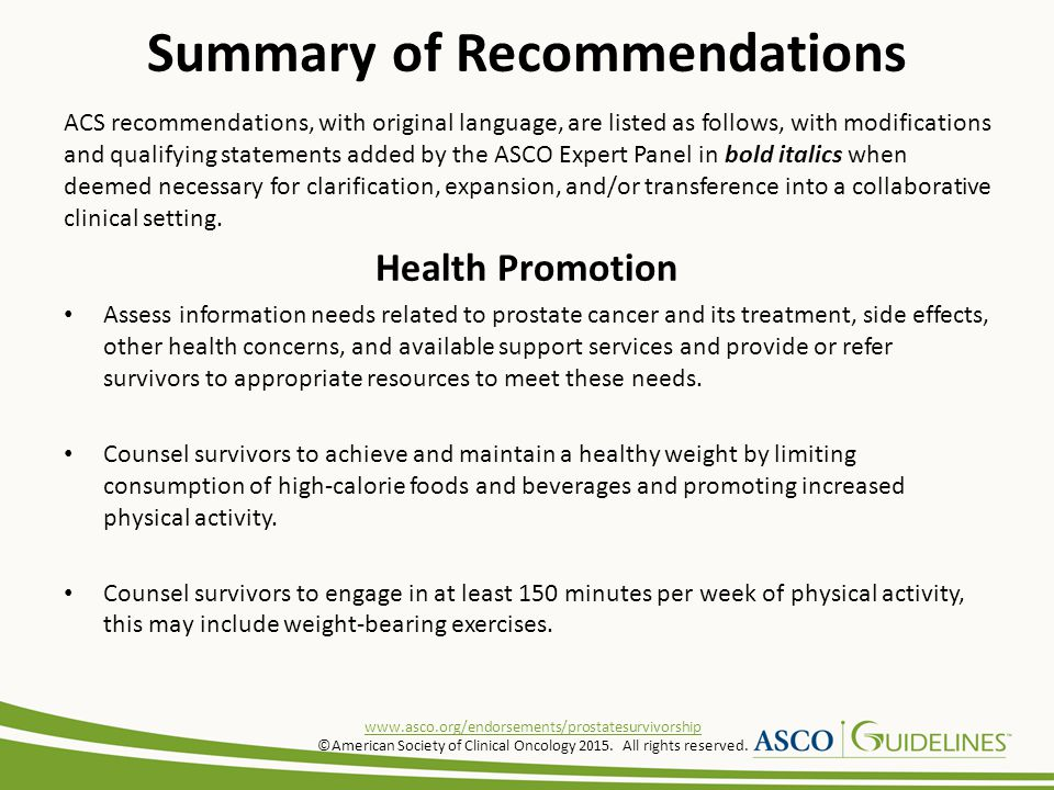 ACS recommendations, with original language, are listed as follows, with modifications and qualifying statements added by the ASCO Expert Panel in bol