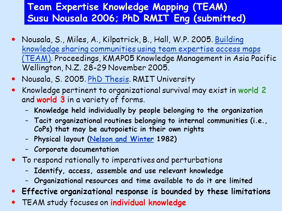 Team Expertise Knowledge Mapping (TEAM) Susu Nousala 2006; PhD RMIT Eng (submitted) Nousala, S., Miles, A., Kilpatrick, B., Hall, W.P.
