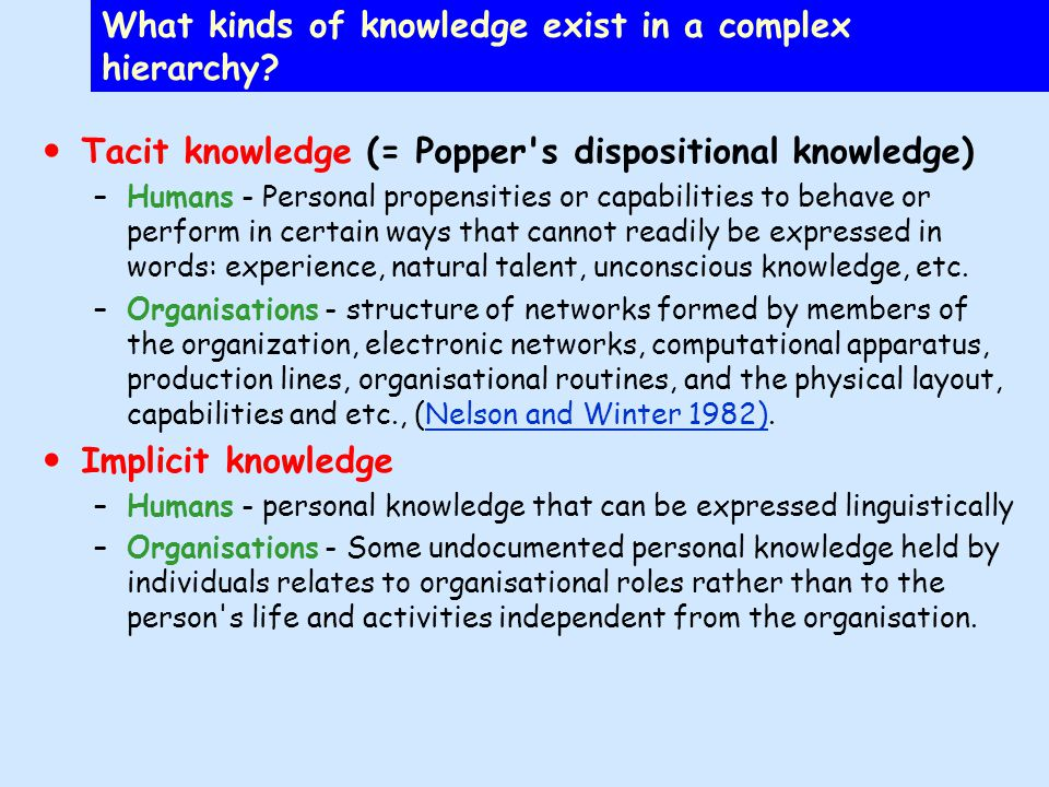 Organisational knowledge in world 3 managing engineering content Persistent objects of corporate knowledge –Articles of incorporation & employment agreements –Contracts –E-mails & correspondence –Graphics and drawings –Plans, records, process & procedure documents –Enacted workflow systems –Written history –Links & captured contexts –Databases –AV recordings World 3 comprises the bulk of organizational memory or heredity = content