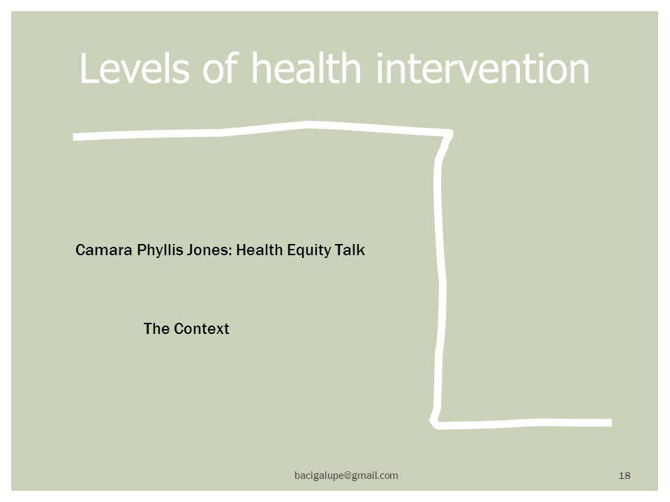 Levels of health intervention bacigalupe@gmail.com 18 Camara Phyllis Jones: Health Equity Talk The Context