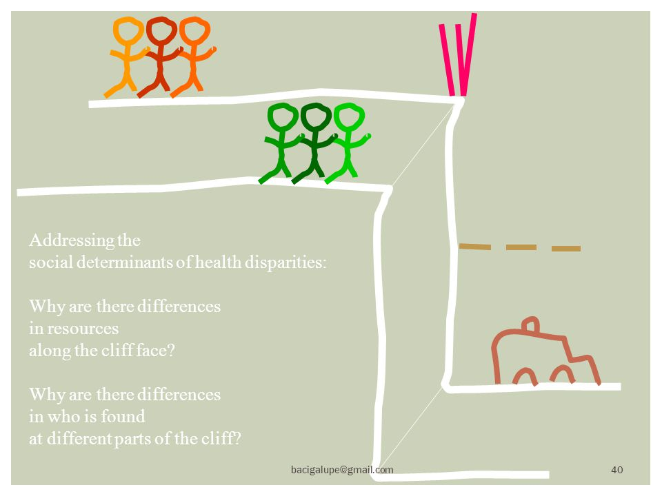 Addressing the social determinants of health disparities: Why are there differences in resources along the cliff face.