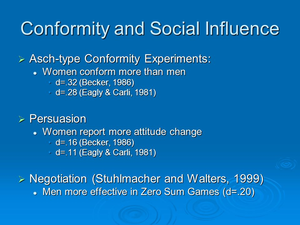 Conformity and Social Influence  Asch-type Conformity Experiments: Women conform more than men Women conform more than men d=.32 (Becker, 1986)d=.32 (Becker, 1986) d=.28 (Eagly & Carli, 1981)d=.28 (Eagly & Carli, 1981)  Persuasion Women report more attitude change Women report more attitude change d=.16 (Becker, 1986)d=.16 (Becker, 1986) d=.11 (Eagly & Carli, 1981)d=.11 (Eagly & Carli, 1981)  Negotiation (Stuhlmacher and Walters, 1999) Men more effective in Zero Sum Games (d=.20) Men more effective in Zero Sum Games (d=.20)