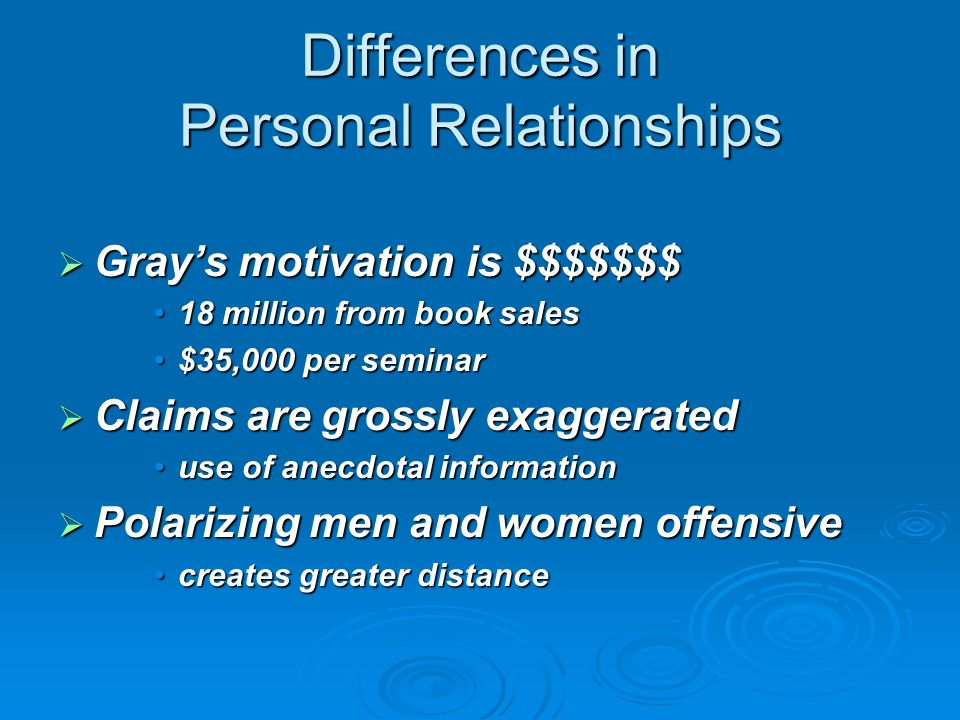 Differences in Personal Relationships  Gray's motivation is $$$$$$$ 18 million from book sales18 million from book sales $35,000 per seminar$35,000 per seminar  Claims are grossly exaggerated use of anecdotal informationuse of anecdotal information  Polarizing men and women offensive creates greater distancecreates greater distance