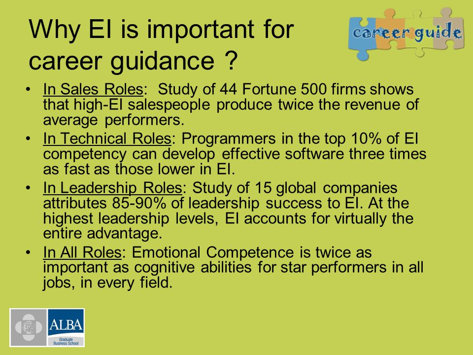 Why EI is important for career guidance ? In Sales Roles: Study of 44 Fortune 500 firms shows that high-EI salespeople produce twice the revenue of av