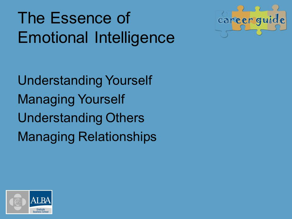 The EI Framework: How EI drives Performance SelfOthers Awareness Actions Positive impact on others Self Awareness Social Awareness Self Management Relationship Management