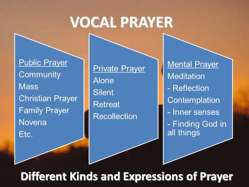 Different Kinds and Expressions of Prayer VOCAL PRAYER Public Prayer Community Mass Christian Prayer Family Prayer Novena Etc.