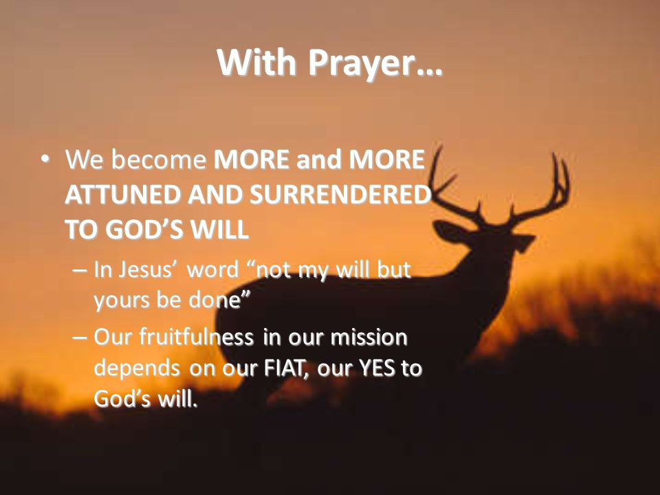 With Prayer… We become MORE and MORE ATTUNED AND SURRENDERED TO GOD'S WILL We become MORE and MORE ATTUNED AND SURRENDERED TO GOD'S WILL – In Jesus' word not my will but yours be done – Our fruitfulness in our mission depends on our FIAT, our YES to God's will.