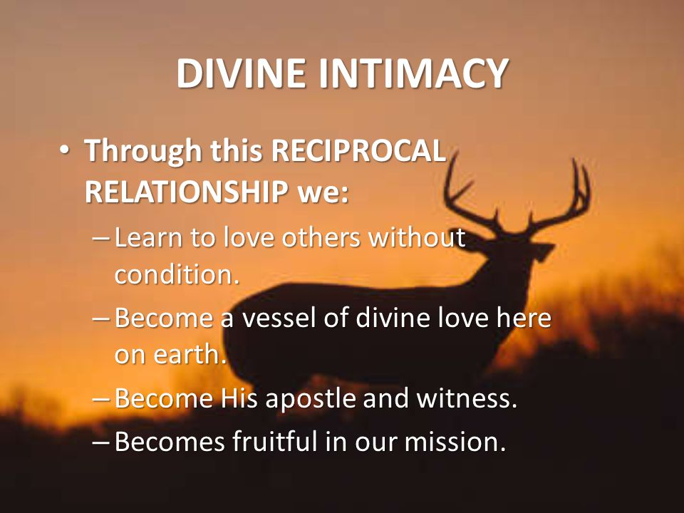 DIVINE INTIMACY Through this RECIPROCAL RELATIONSHIP we: Through this RECIPROCAL RELATIONSHIP we: – Learn to love others without condition.