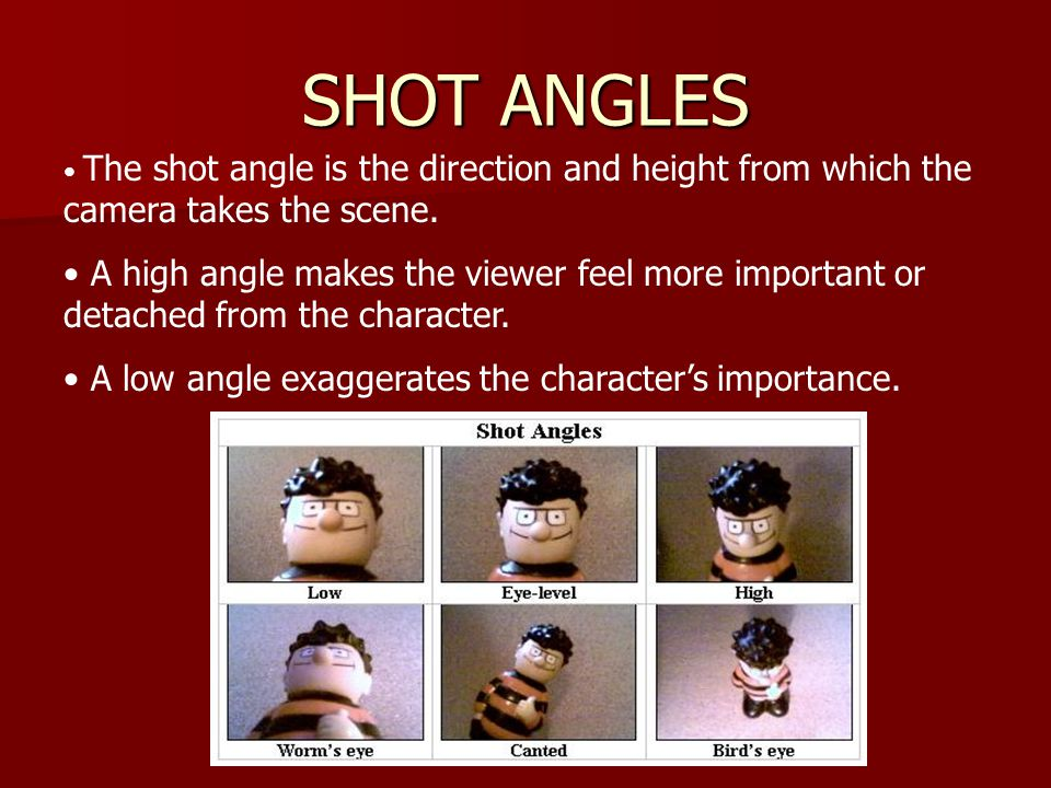 SHOT ANGLES The shot angle is the direction and height from which the camera takes the scene.