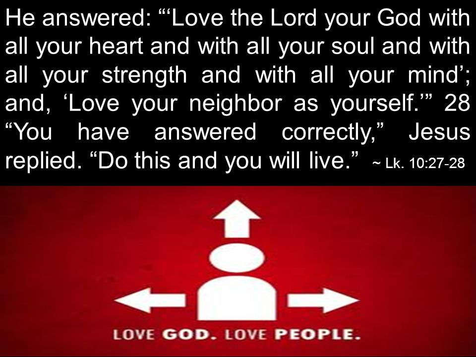 He answered: 'Love the Lord your God with all your heart and with all your soul and with all your strength and with all your mind'; and, 'Love your neighbor as yourself.' 28 You have answered correctly, Jesus replied.