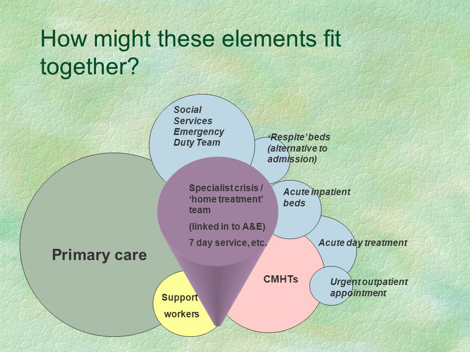 How might these elements fit together? Primary care Social Services Emergency Duty Team ' Respite' beds (alternative to admission) Acute inpatient bed