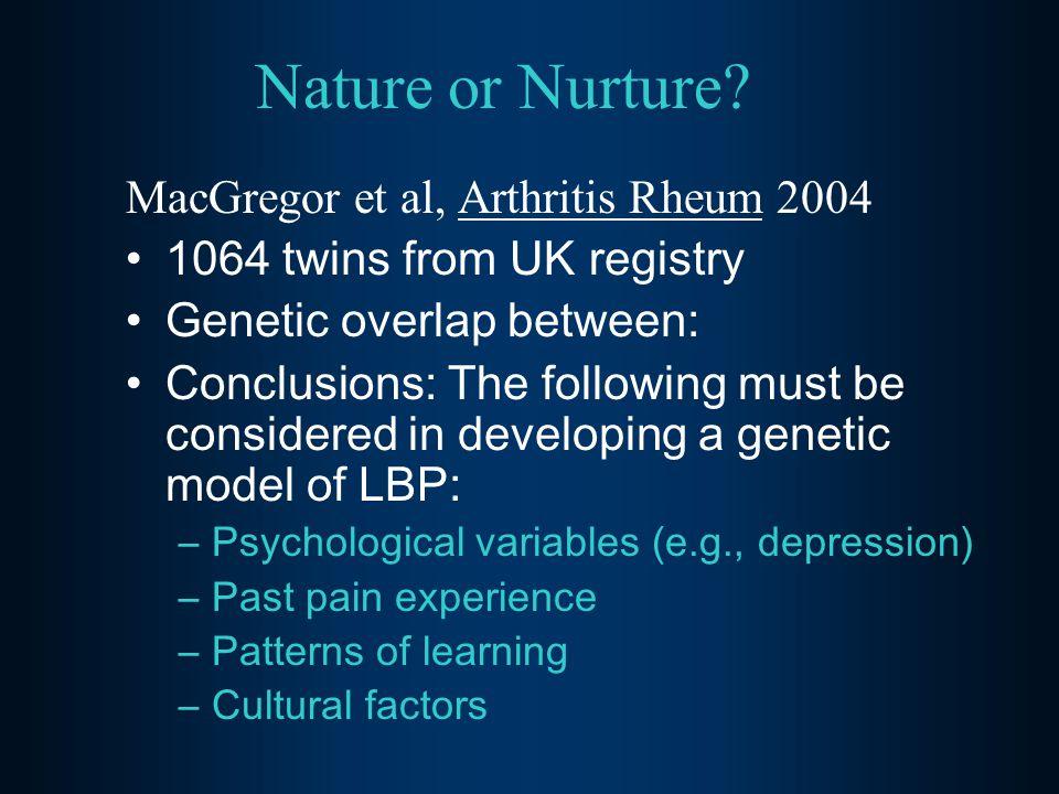 Nature or Nurture? MacGregor et al, Arthritis Rheum 2004 1064 twins from UK registry Genetic overlap between: Conclusions: The following must be consi