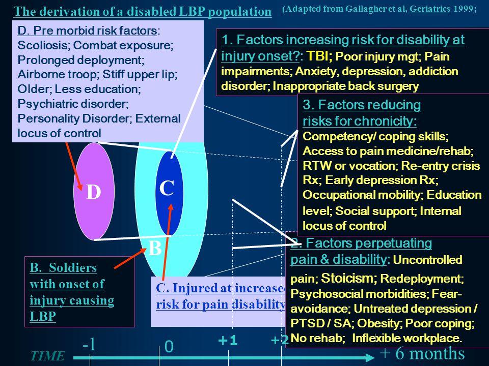 D The derivation of a disabled LBP population D. Pre morbid risk factors: Scoliosis; Combat exposure; Prolonged deployment; Airborne troop; Stiff uppe