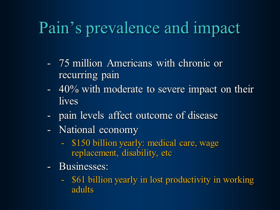 Pain's prevalence and impact -75 million Americans with chronic or recurring pain -40% with moderate to severe impact on their lives -pain levels affect outcome of disease -National economy -$150 billion yearly: medical care, wage replacement, disability, etc -Businesses: -$61 billion yearly in lost productivity in working adults