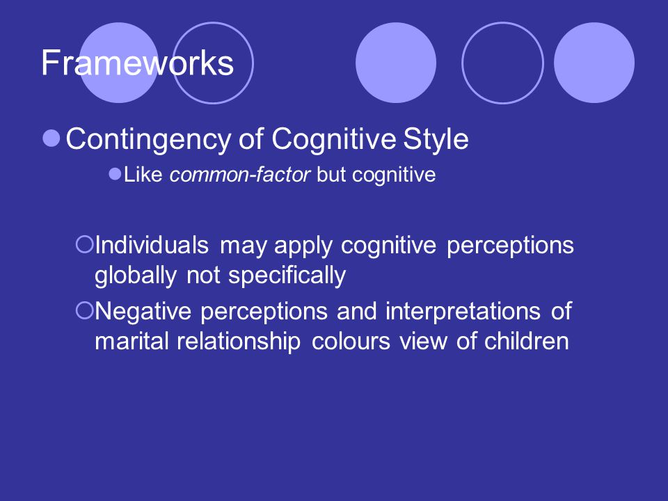 Frameworks Contingency of Cognitive Style Like common-factor but cognitive  Individuals may apply cognitive perceptions globally not specifically  Negative perceptions and interpretations of marital relationship colours view of children