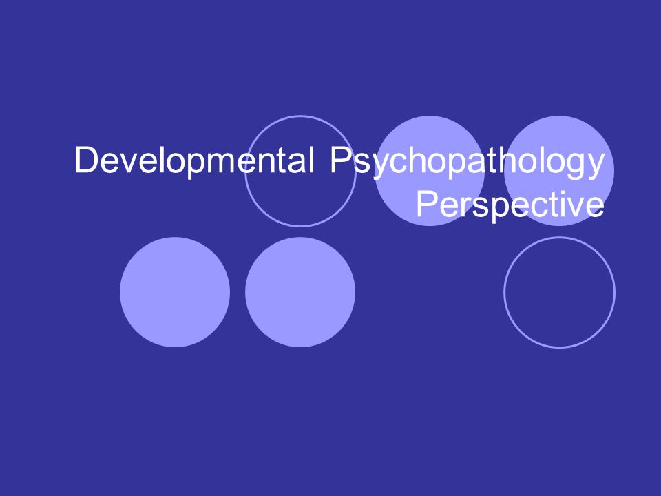 Developmental Psychopathology Perspective