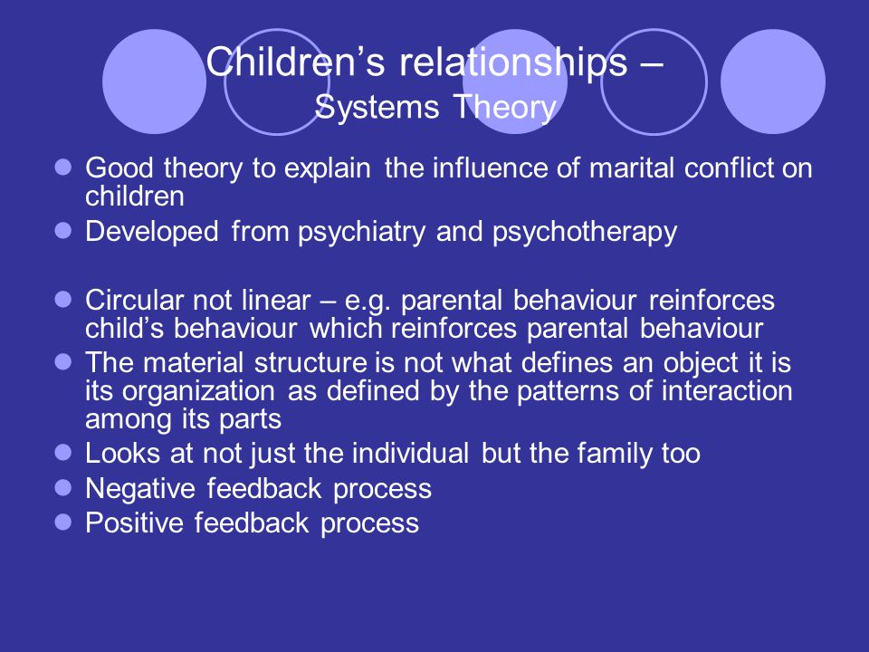 Children's relationships – Systems Theory Good theory to explain the influence of marital conflict on children Developed from psychiatry and psychotherapy Circular not linear – e.g.