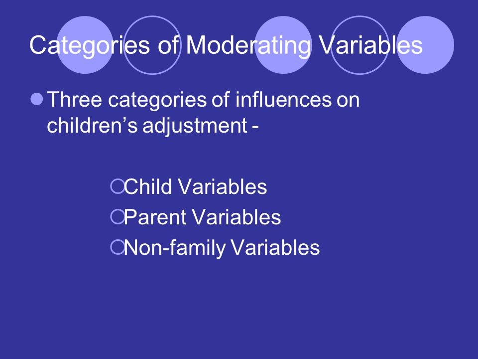 Categories of Moderating Variables Three categories of influences on children's adjustment -  Child Variables  Parent Variables  Non-family Variables