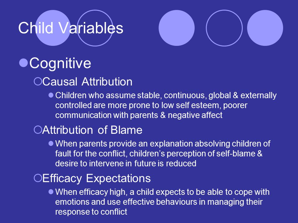 Child Variables Cognitive  Causal Attribution Children who assume stable, continuous, global & externally controlled are more prone to low self esteem, poorer communication with parents & negative affect  Attribution of Blame When parents provide an explanation absolving children of fault for the conflict, children's perception of self-blame & desire to intervene in future is reduced  Efficacy Expectations When efficacy high, a child expects to be able to cope with emotions and use effective behaviours in managing their response to conflict