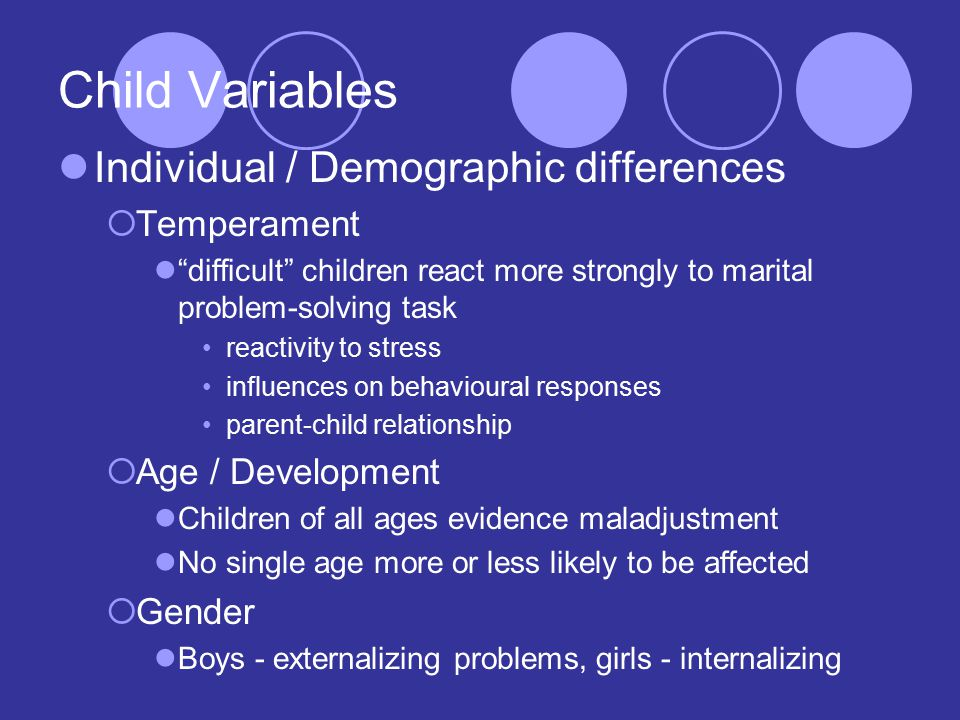 Child Variables Individual / Demographic differences  Temperament difficult children react more strongly to marital problem-solving task reactivity to stress influences on behavioural responses parent-child relationship  Age / Development Children of all ages evidence maladjustment No single age more or less likely to be affected  Gender Boys - externalizing problems, girls - internalizing