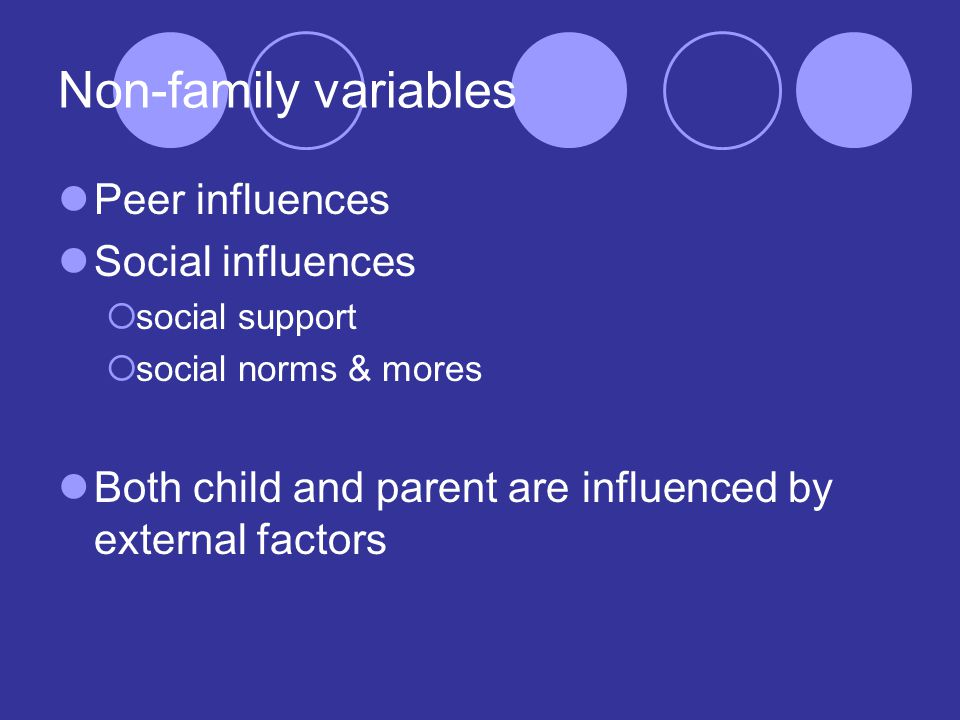 Non-family variables Peer influences Social influences  social support  social norms & mores Both child and parent are influenced by external factors