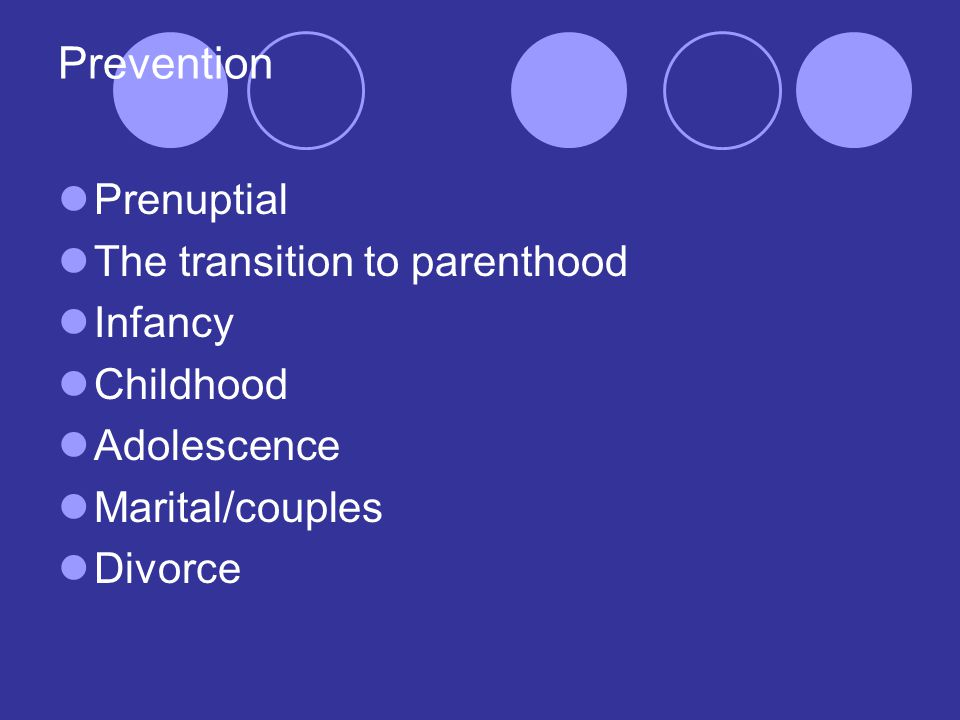 Prevention Prenuptial The transition to parenthood Infancy Childhood Adolescence Marital/couples Divorce
