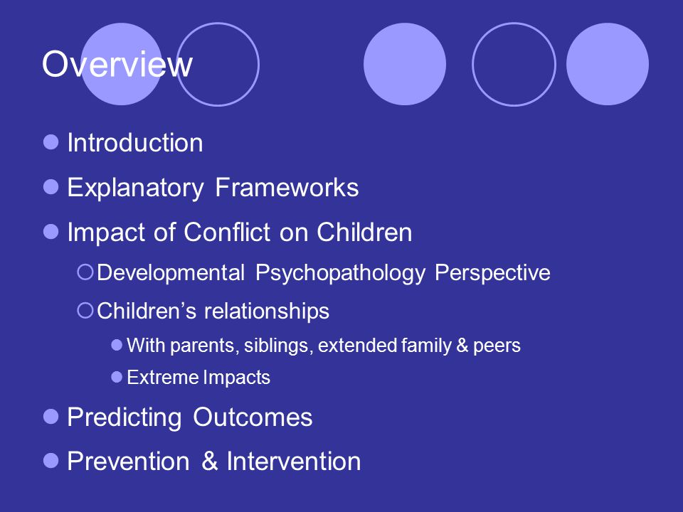 Overview Introduction Explanatory Frameworks Impact of Conflict on Children  Developmental Psychopathology Perspective  Children's relationships With parents, siblings, extended family & peers Extreme Impacts Predicting Outcomes Prevention & Intervention