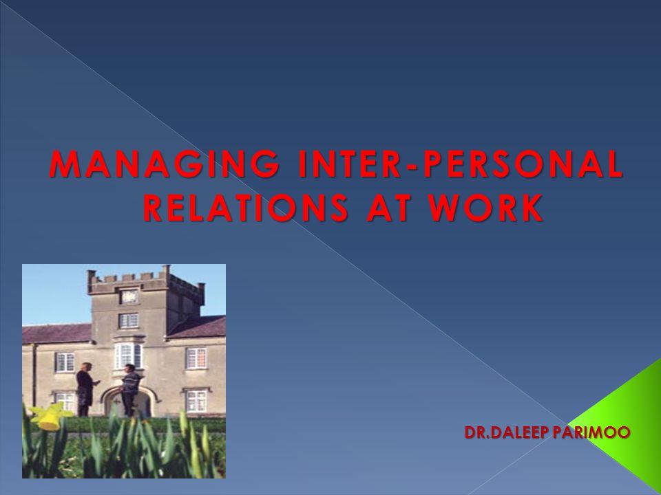 MANAGING INTER-PERSONAL RELATIONS AT WORK DR.DALEEP PARIMOO