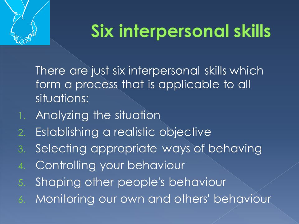 There are just six interpersonal skills which form a process that is applicable to all situations: 1. Analyzing the situation 2. Establishing a realis