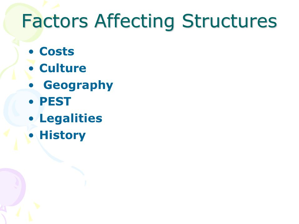 Factors Affecting Structures Costs Culture Geography PEST Legalities History