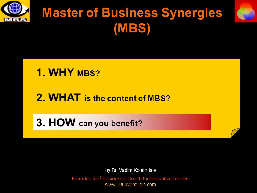 Master of Business Synergies (MBS) by Dr.