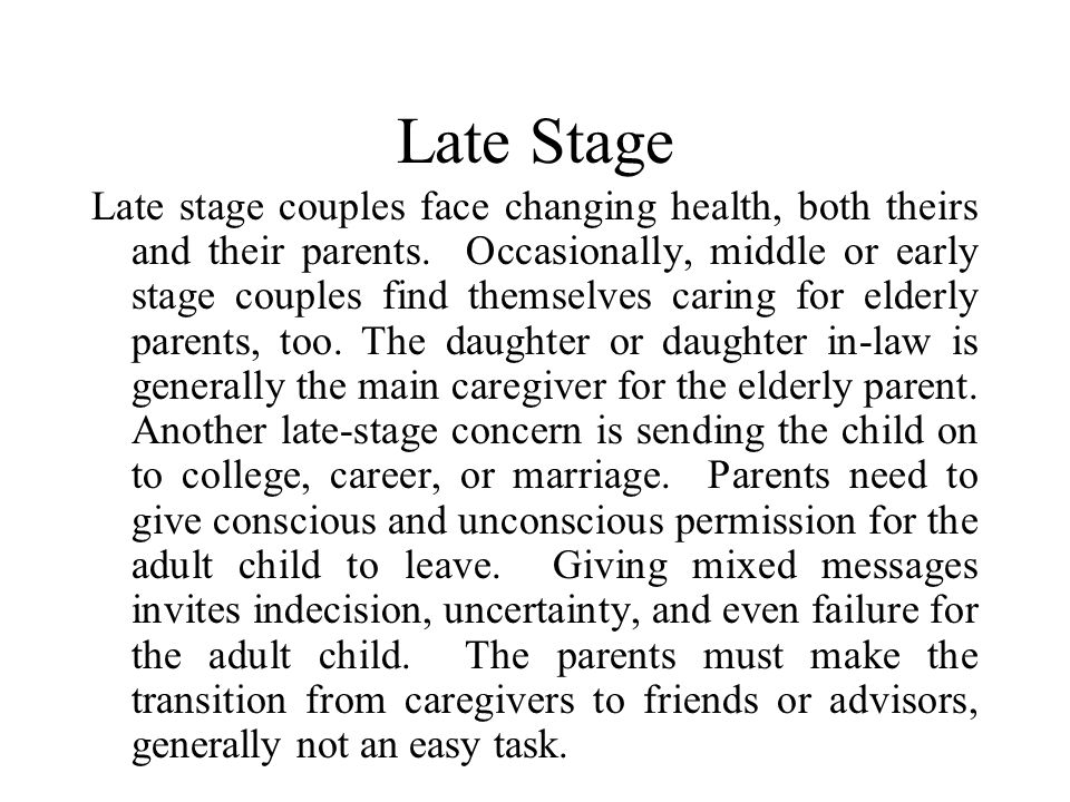 Sources of Conflict in the Middle Stage Parents are defining marital expectations to the stresses of children. Teen years put the most stress on famil