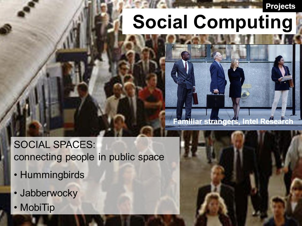 SOCIAL SPACES: connecting people in public space Hummingbirds Jabberwocky MobiTip Familiar strangers, Intel Research Social Computing Projects