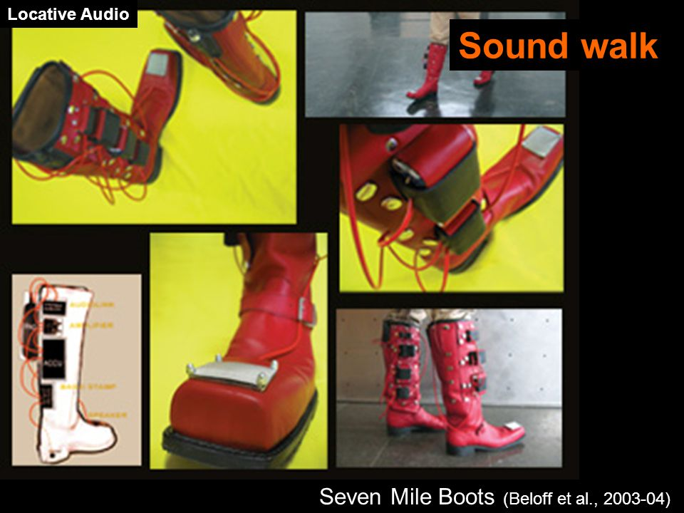 Seven Mile Boots (Beloff et al., 2003-04) Sound walk Locative Audio