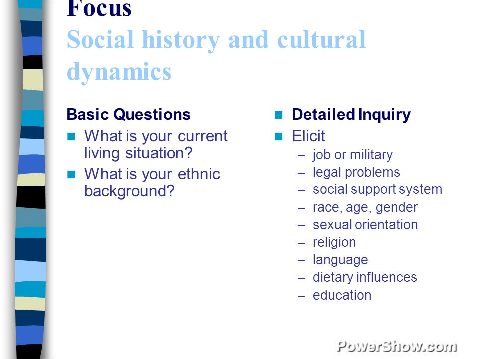 Focus Social history and cultural dynamics Basic Questions What is your current living situation.
