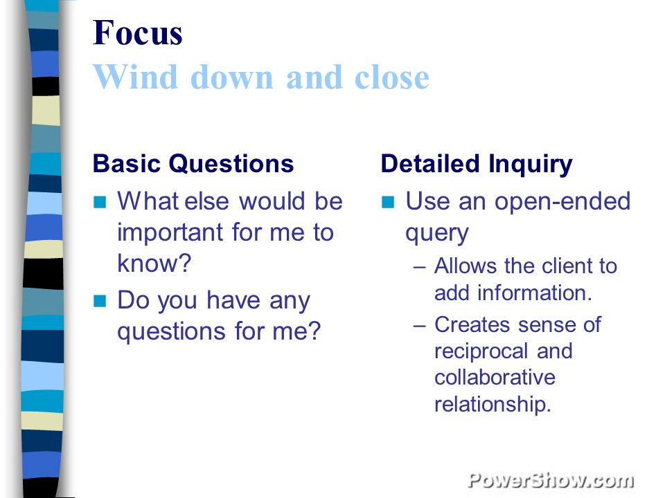 Focus Wind down and close Basic Questions What else would be important for me to know.