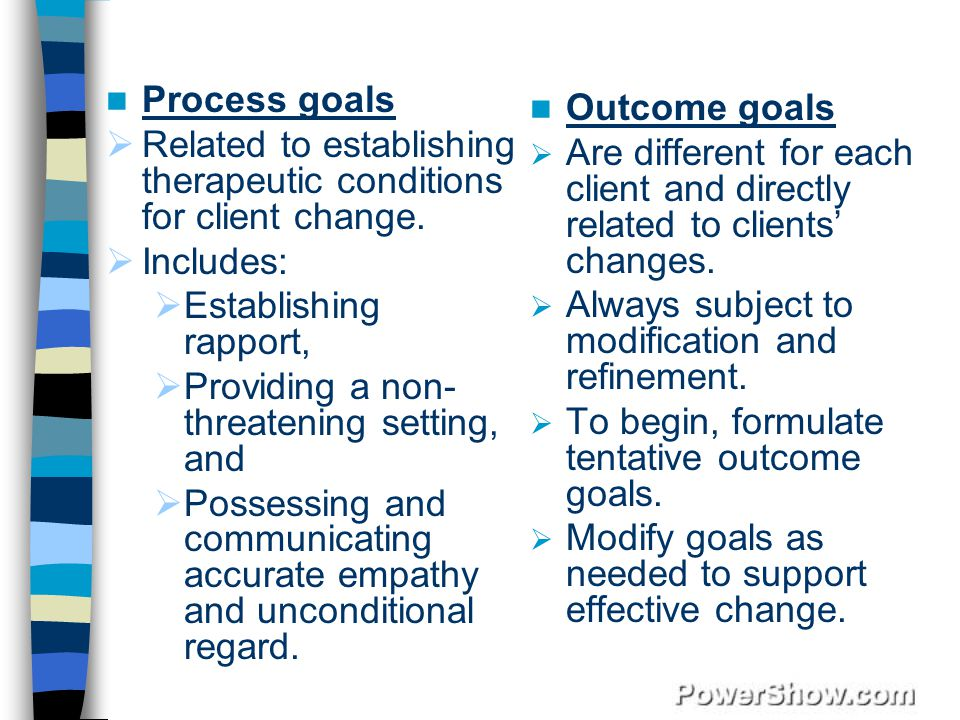 Process goals  Related to establishing therapeutic conditions for client change.