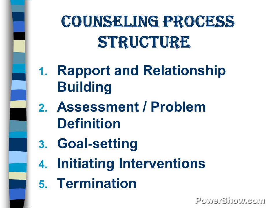 Counseling Process Structure 1.Rapport and Relationship Building 2.