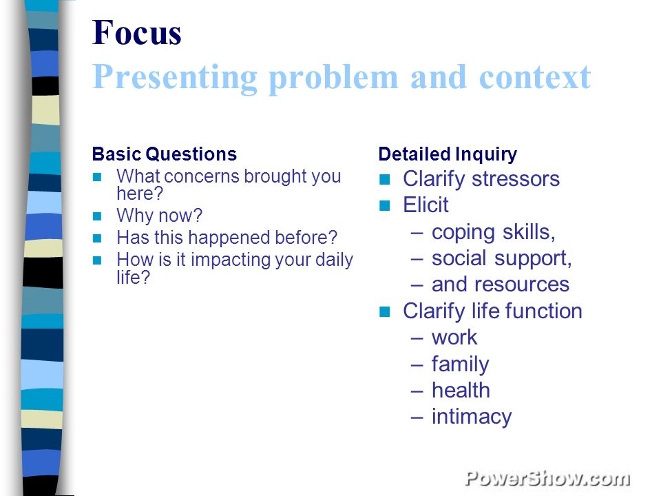Focus Presenting problem and context Basic Questions What concerns brought you here.